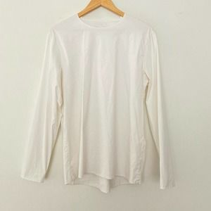 COS Small Long Sleeve Shoulder Zipper White Blouse